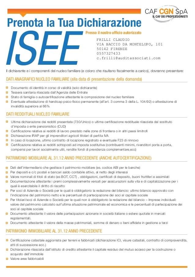 Modello Isee Documentazione Necessaria