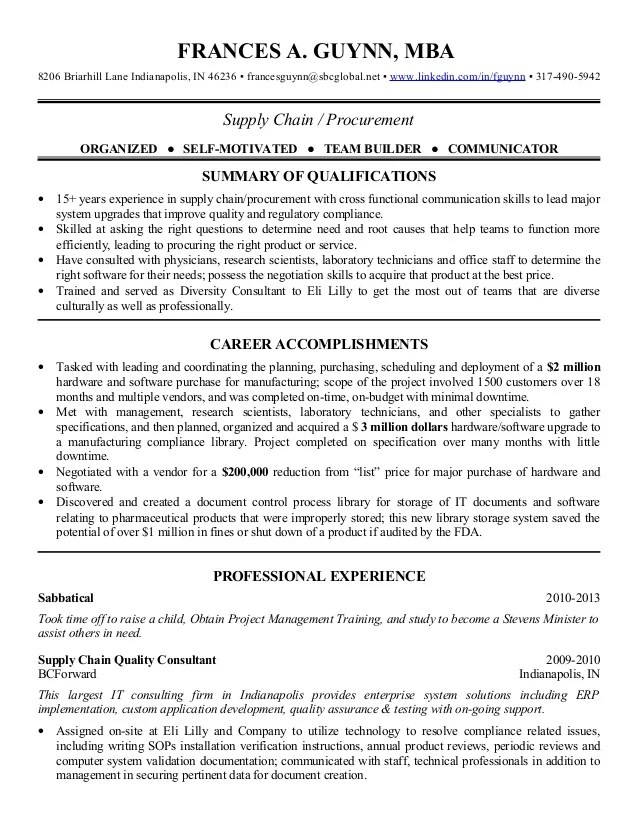 procurement manager cv