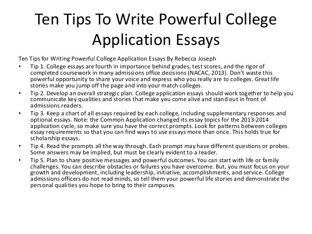 College admissions essay help office
