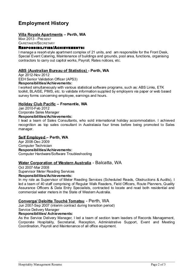 hospitality mgmt resume 5