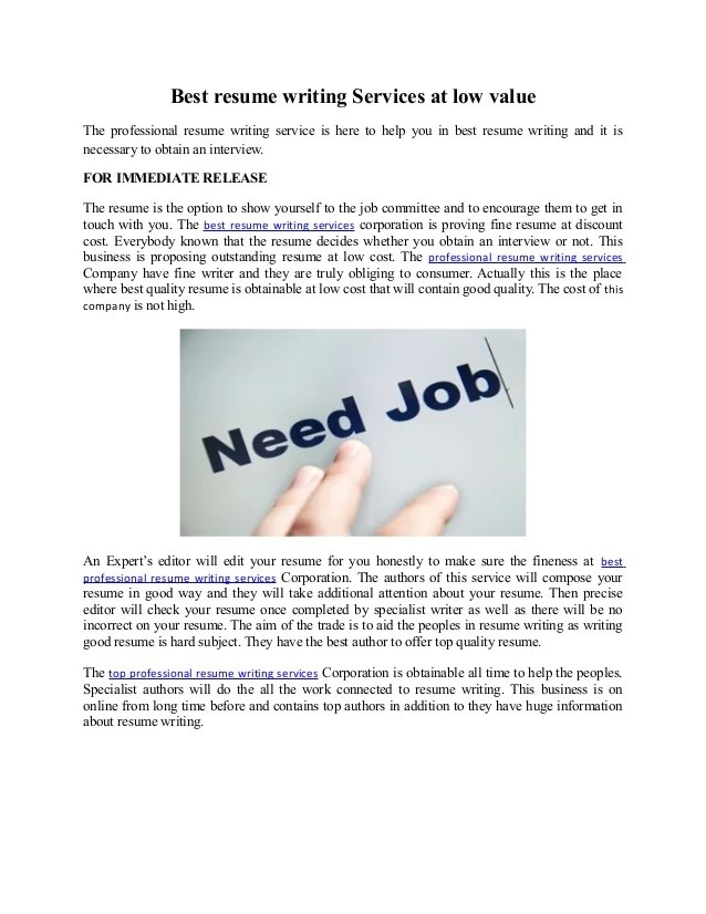 Professional resume writing service cost