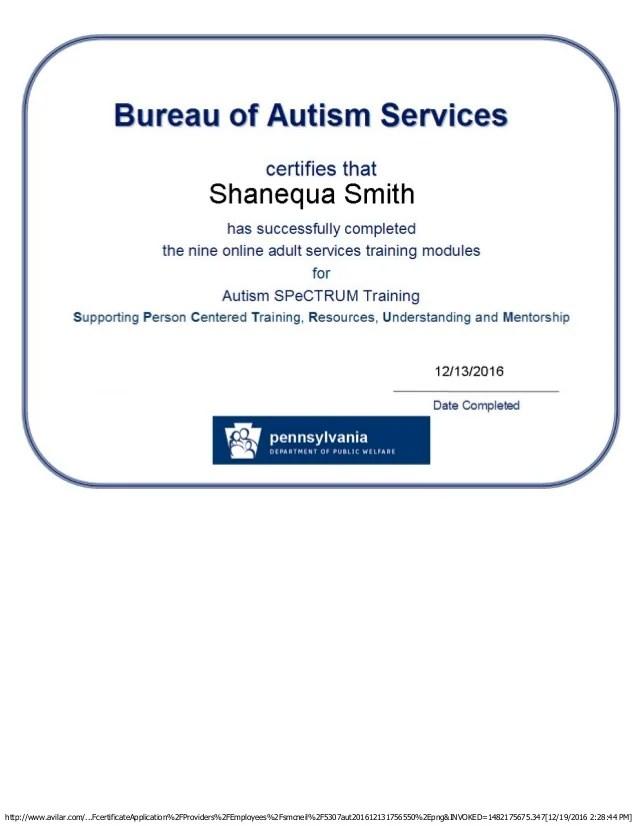 Autism Spectrum Training Certificate