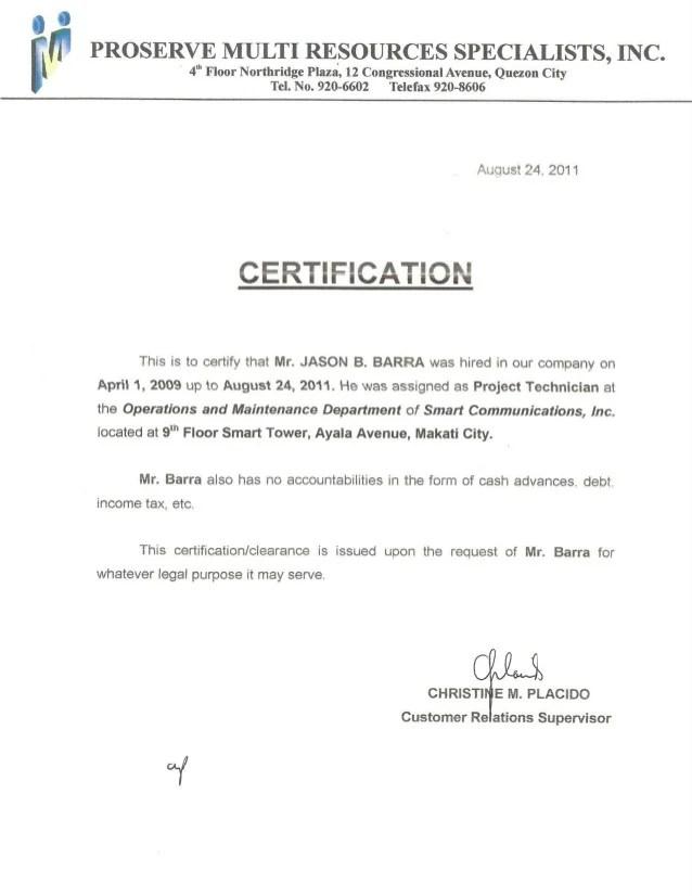 Smart Communication Inc Certificate Of Employment