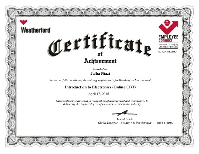 Introduction To Electronics Training Certificate