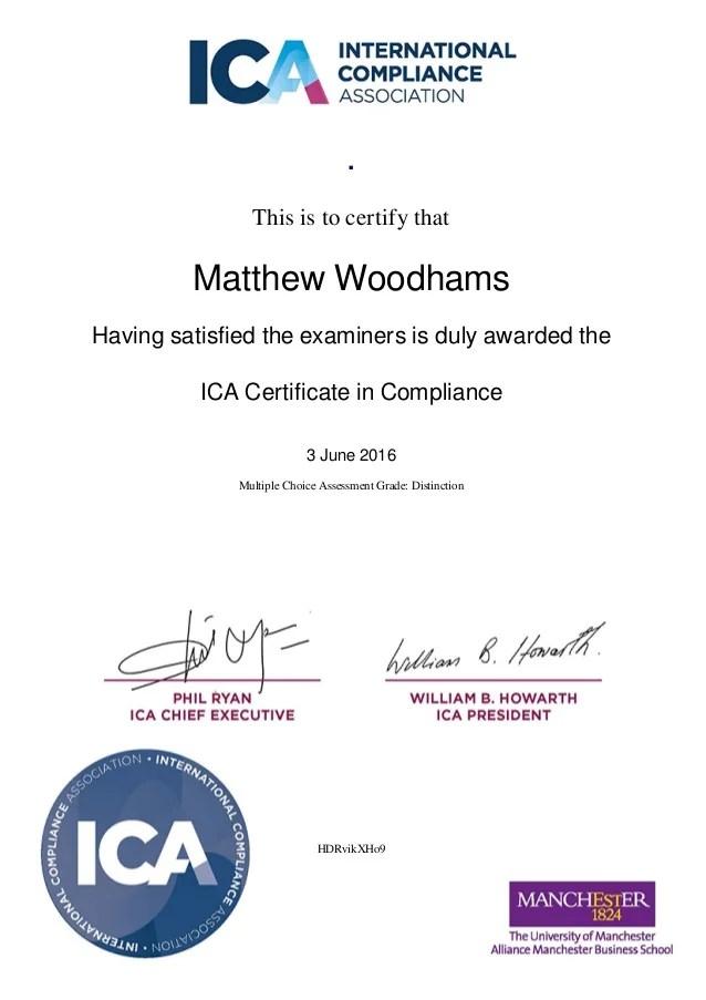 Ica Compliance Certificate