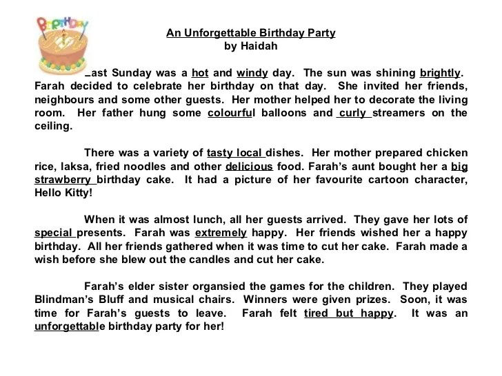Essay About My Birthday Party