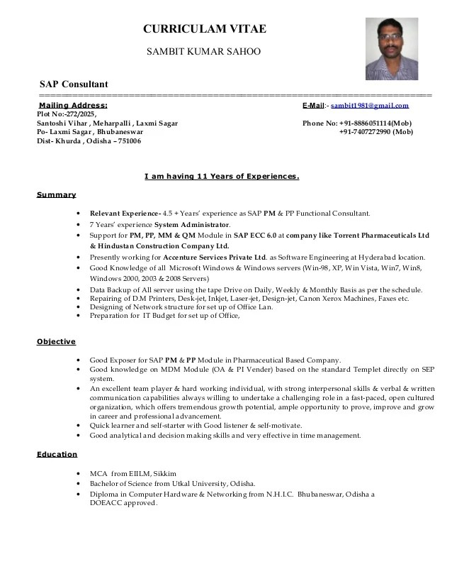 Sap Sd Resume Example. resume samples for sap consultant ...