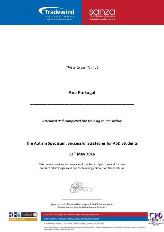 Certificate Autism Spectrum