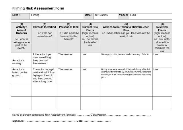 Filming Risk Assessment Form