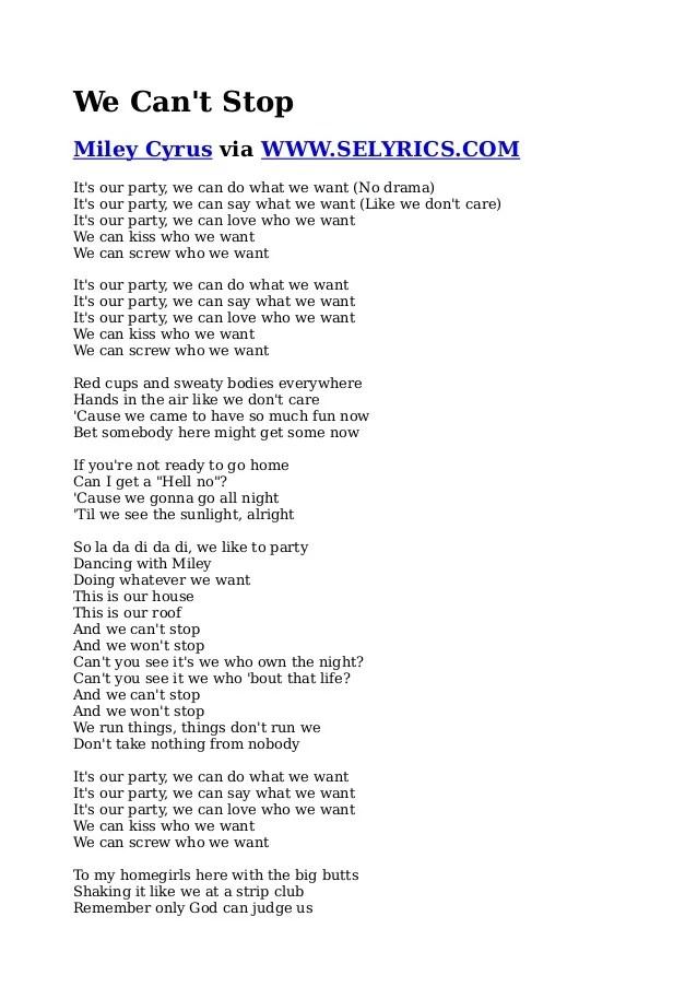 Miley Cyrus We Cant Stop Lyrics PDF