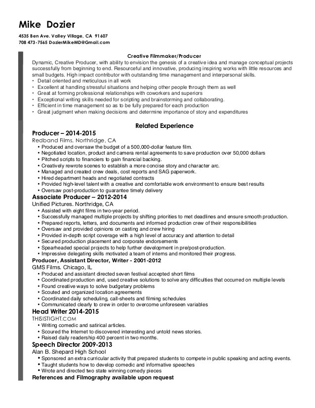 Filmmaker Resume Template Sample Production Assistant Resumes