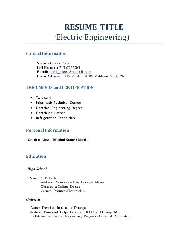 Example For Resume Title. For Resume Examples Of Resume Titles