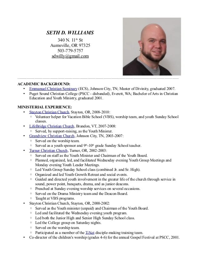 seth d williams ministry resume seth d williams 340 n 11th st
