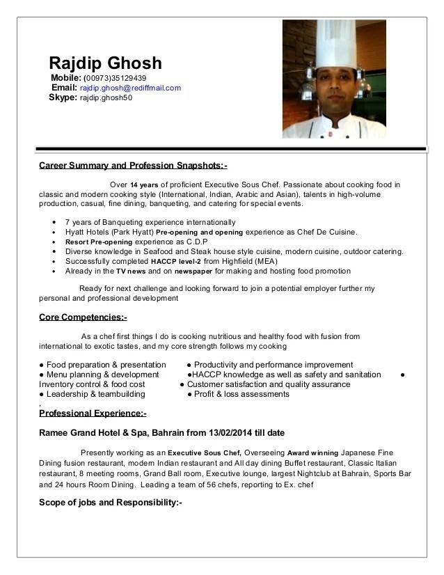 what is a sous chef job description chef job description resume