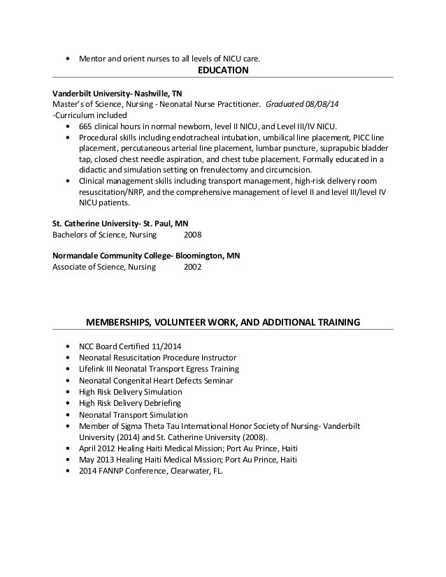 Sample Resume Neonatal Nurse | Cipanewsletter