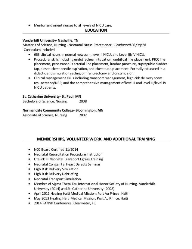 Neonatal icu nurse resume