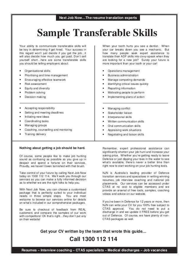 Transferable Skills Resume Format - Vosvete.Net