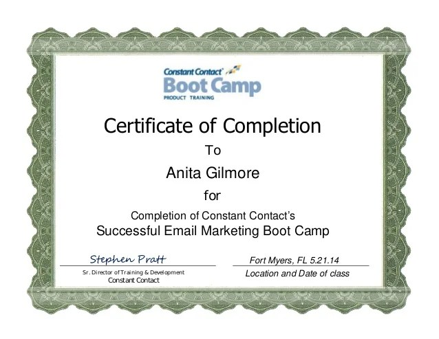 Constantcontact Email Marketing Boot Camp Certificate Anita