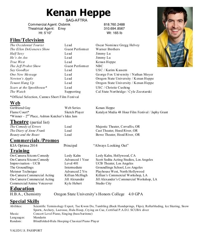 Theater Resume For Beginners. Beginner Acting Resume This Is Your