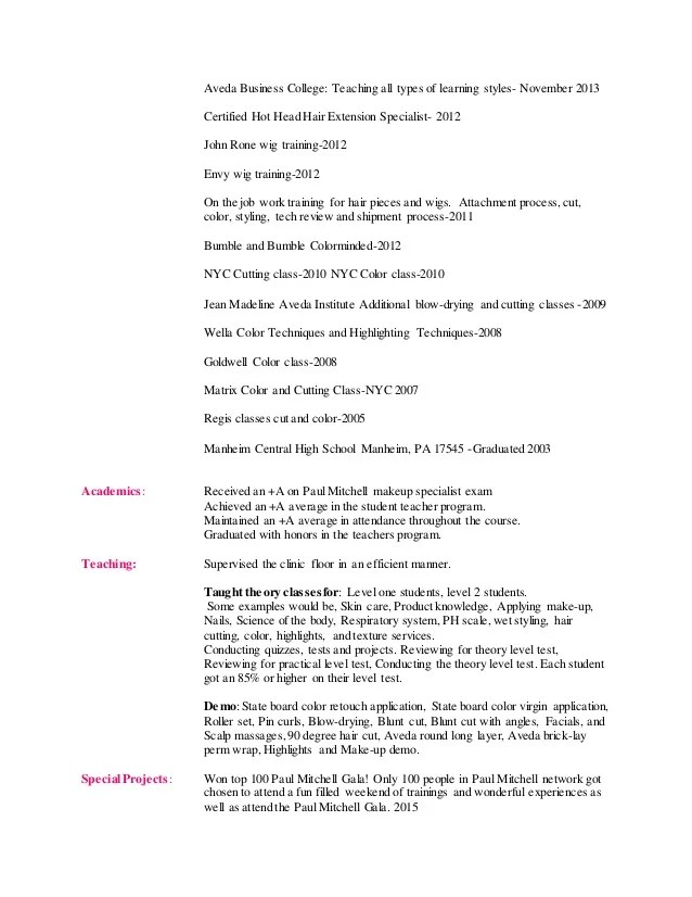 cover letter cosmetologist resume