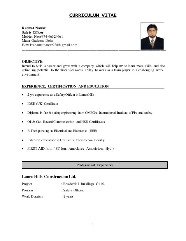 Safety Officer Resume Pdf. public example download sample. safety ...