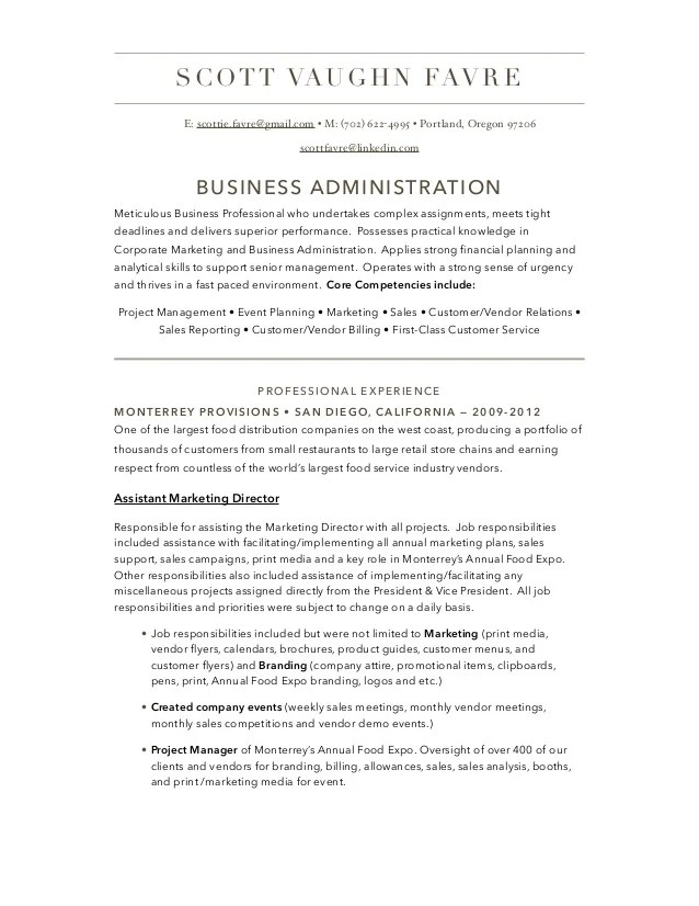 Resume Business Administration. business administration resume ...