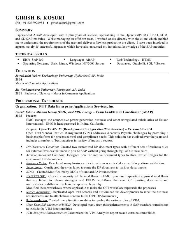 sap pi sample resume sap consultant resume objective sap mm