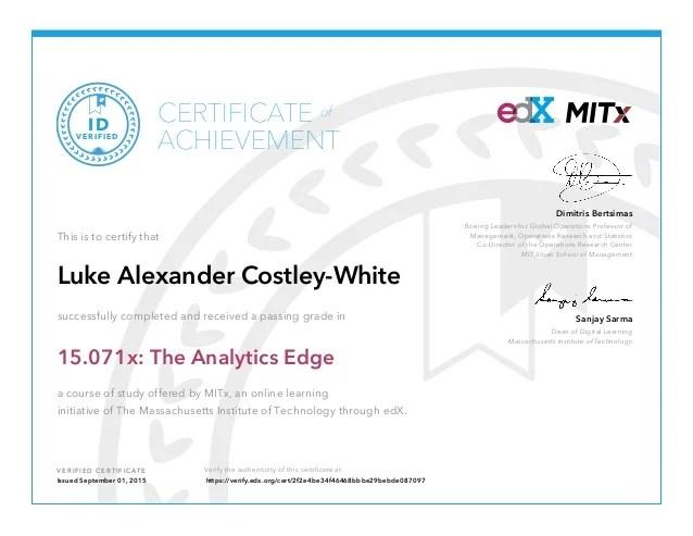 Mit Analytics Edge Certificate