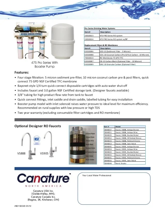canature 475 pro series reverse osmosis