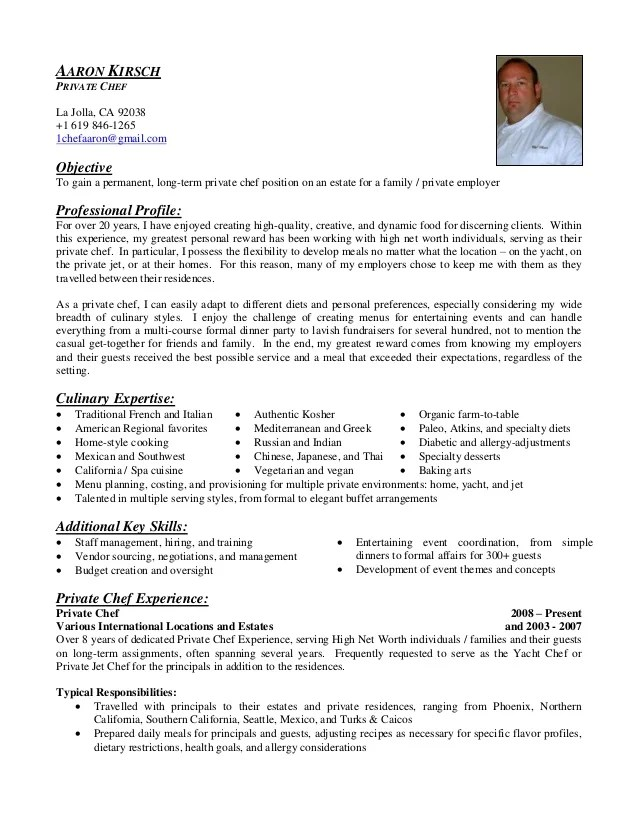 for cook x resume for cook chef aaron kirsch private chef resume