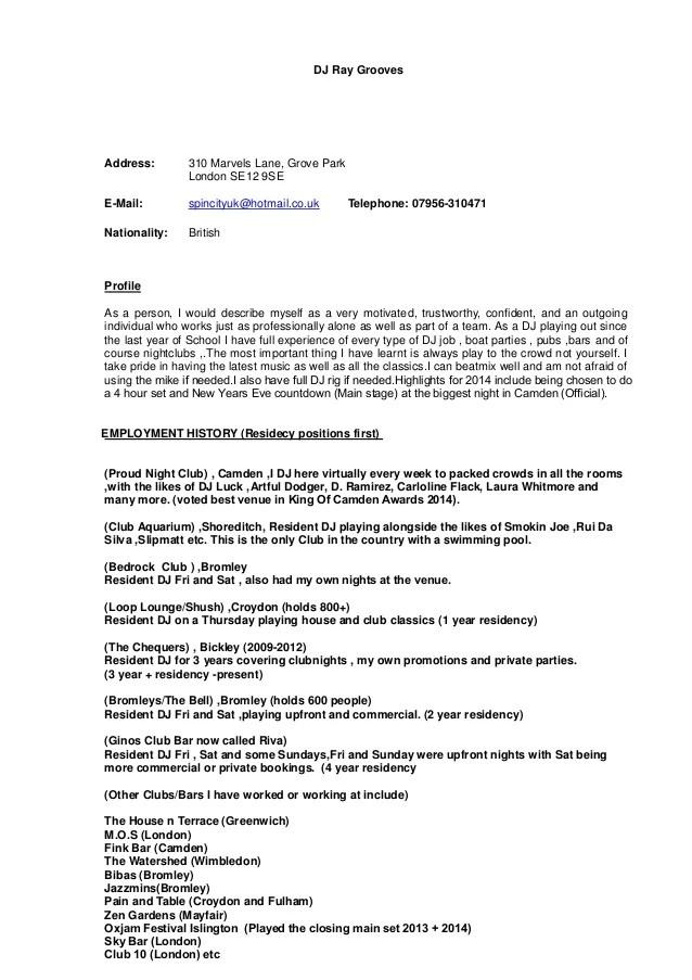 Dj Resume Ray Grooves Address Marvels Lane Grove Park London Se
