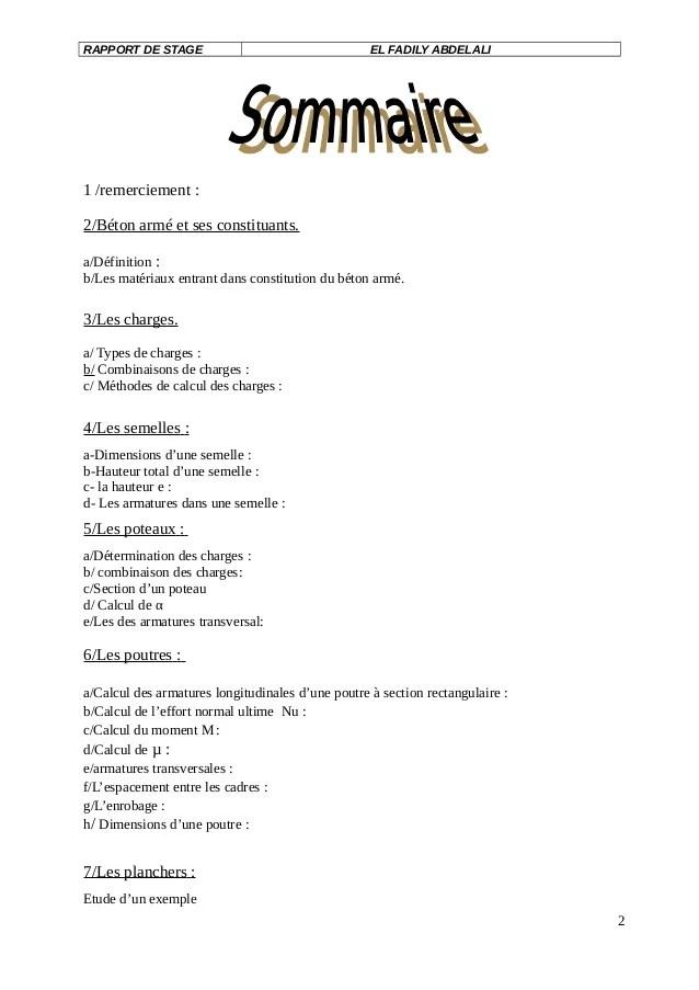Exemple Rapport De Stage Au Bureau Detude BTP