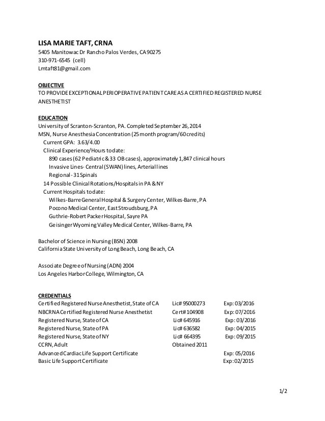 resume free sample nurse anesthetist resume nurse sample resume