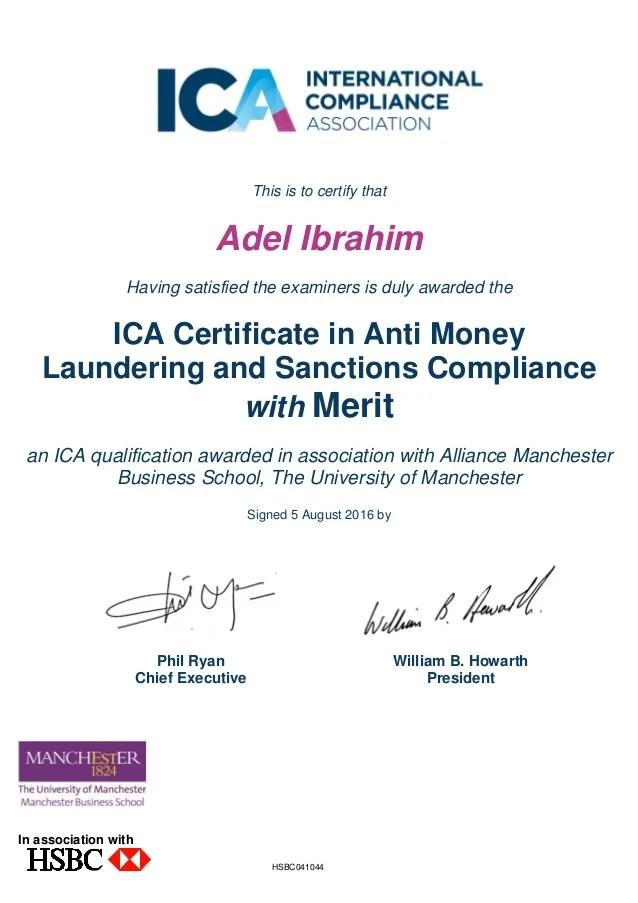 Ica Certificate