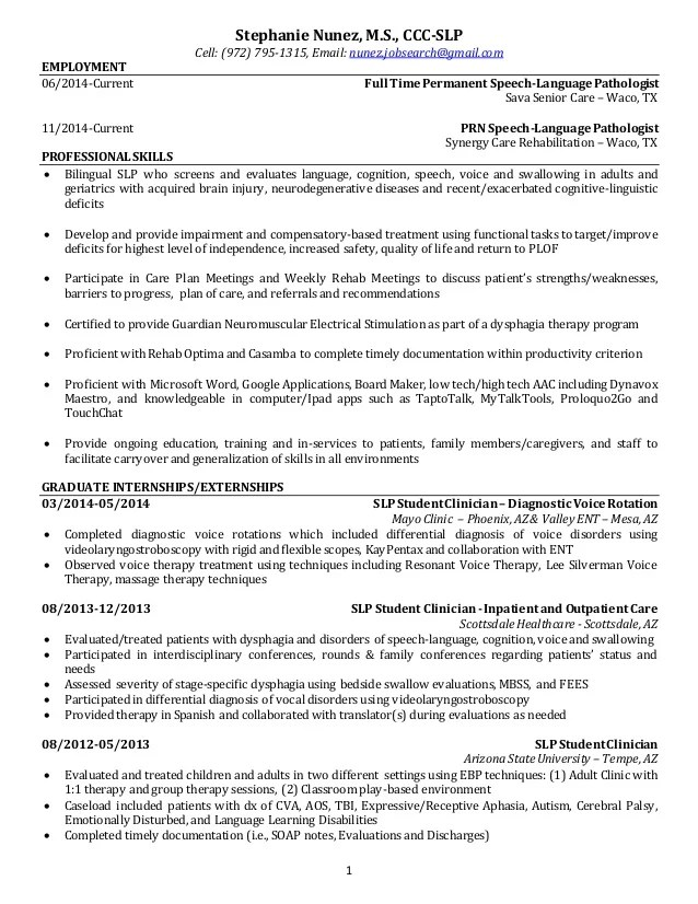 speech pathology resumes sample speech pathology resume speech