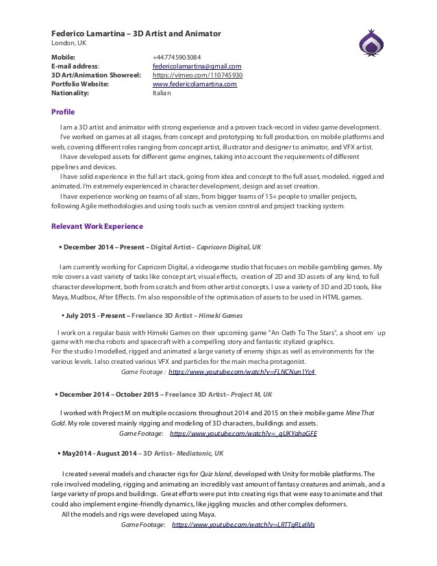 3d character animator resume pdf doc 3 page s example resume and