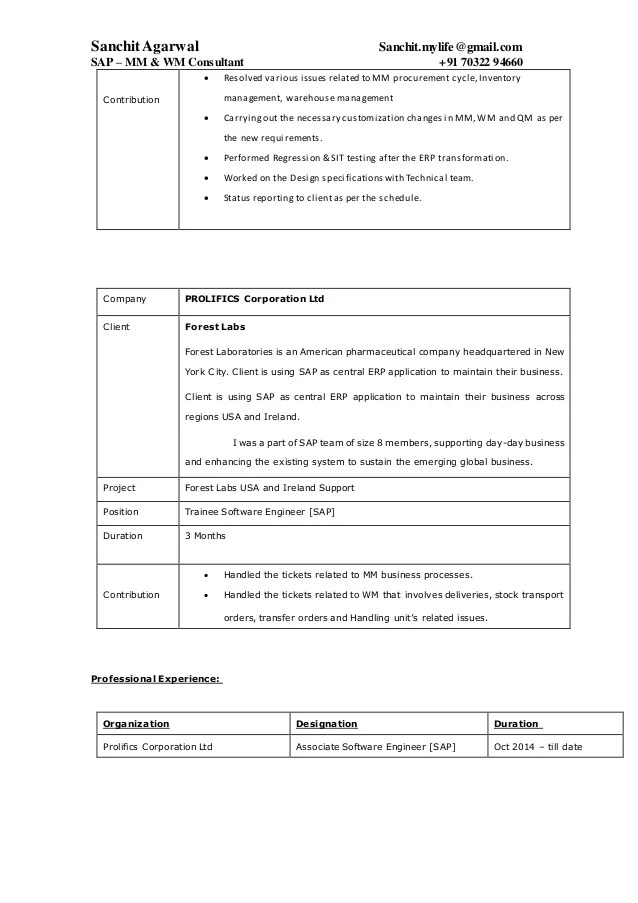CIN M MM RESUME Sap Se Mhba Digimerge Net Perfect Resume Example Resume And  Cover Letter  Perfect Resumes