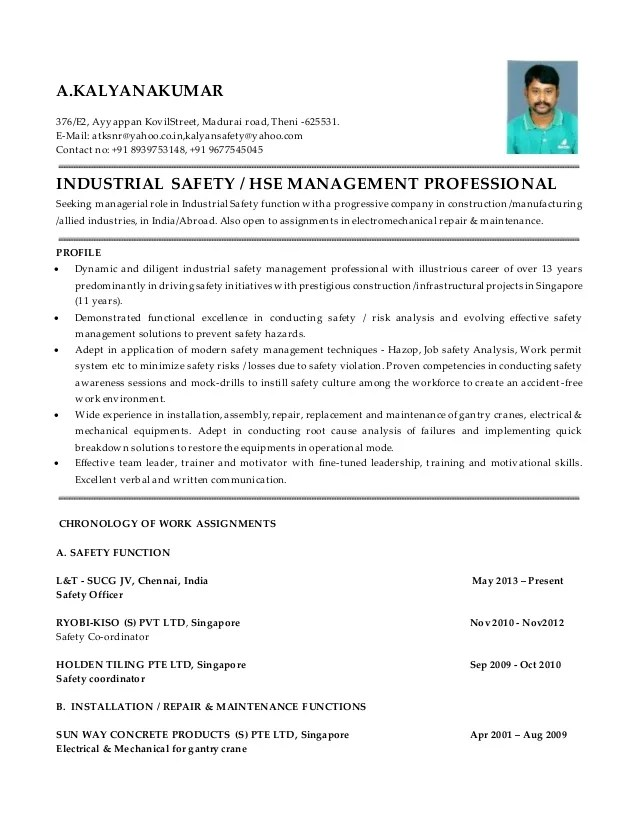 safety manager resume samples template management construction