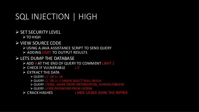 Check Sql Injection Online