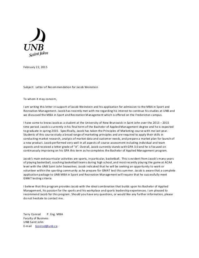 jacob weinstein reference letter mba sports amp recreation feb 22