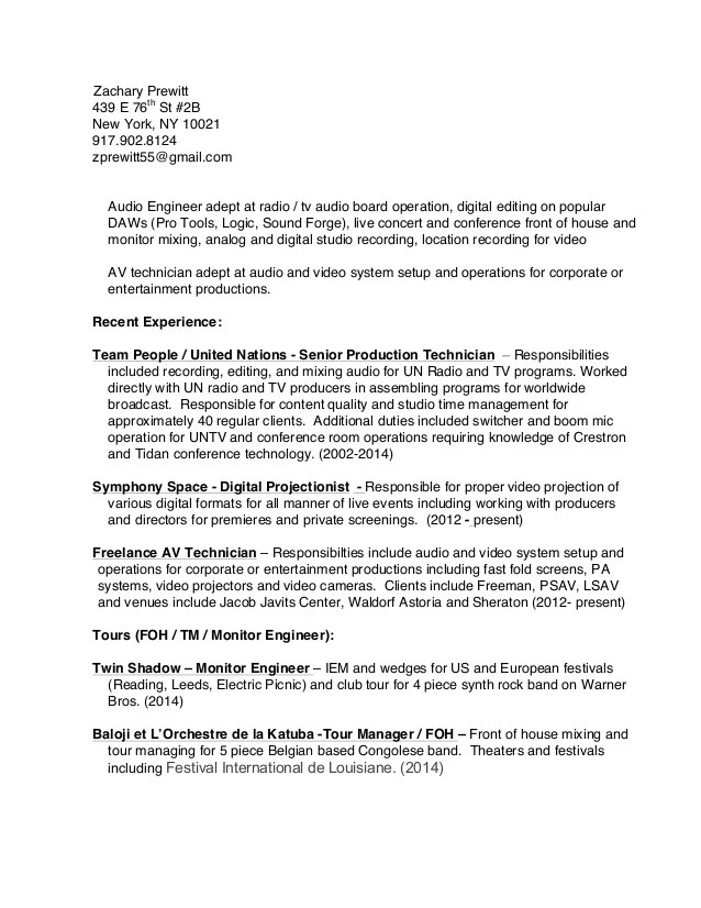 Radio Sound Engineer Resume  broadcast and technicians and