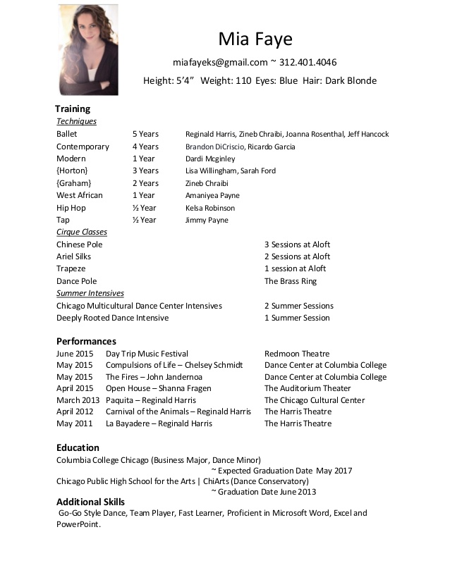 Dance Resume Layout. Dance Resume Template Dance Resume Samples