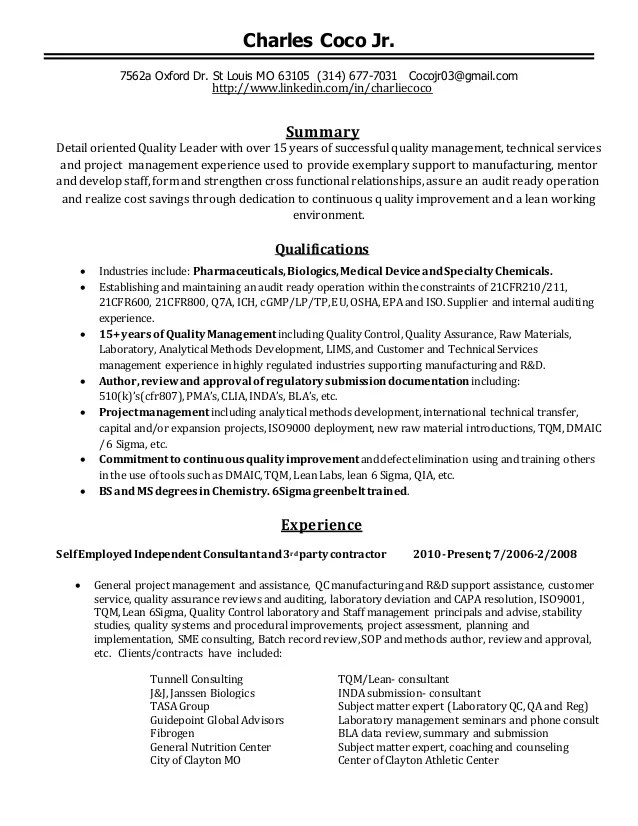 Resumes Quality Control. Quality Control Resume Examples Quality