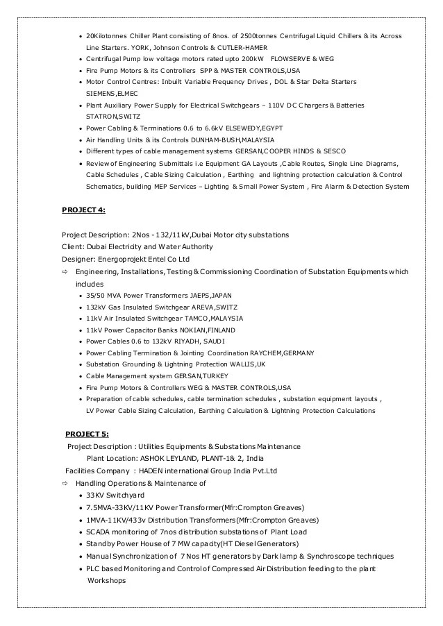 Electro mechanic engineer systems control resume
