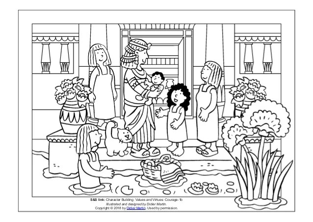 Coloring Page Young People In The Bible Miriam And Baby Moses
