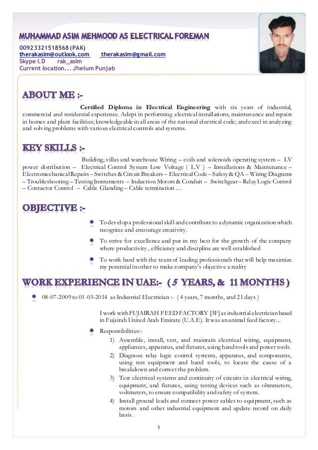 Resume Muhammad Asim Mehmood As Electrical Foreman