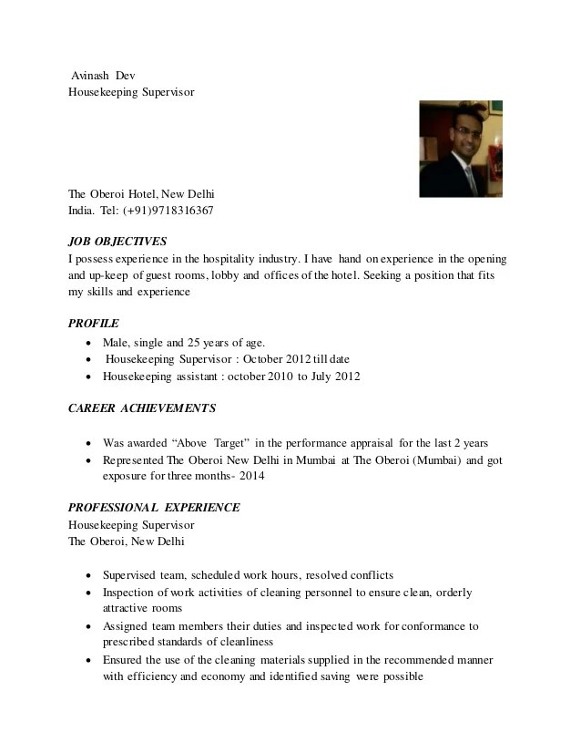 Housekeeping Supervisor Resume Examples. Resume Template Resume