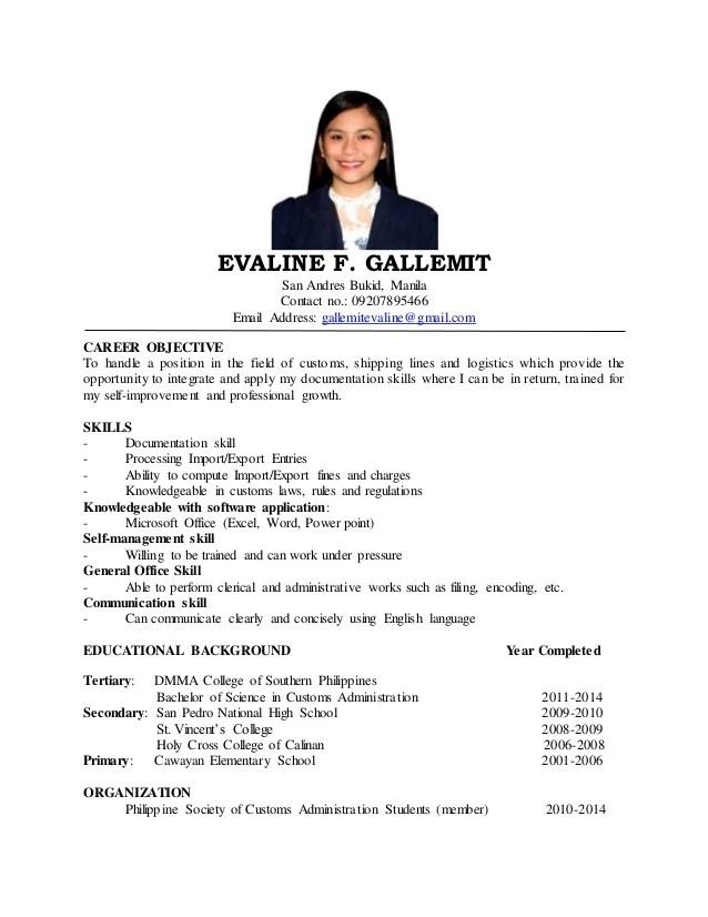 evaline resume 16 sample resume objectives for students