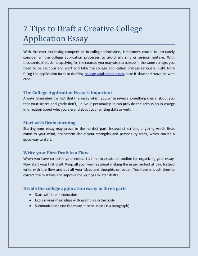 college application essay outline