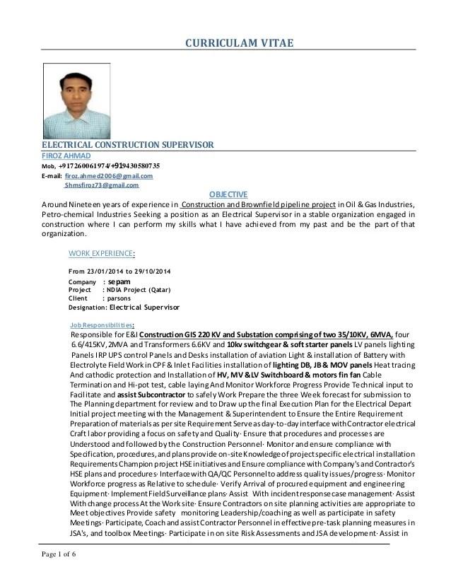 Firoz Electrical Supervisor Cv